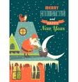 Santa Claus gives Christmas gift to a cat vector image
