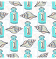 shells seamless pattern with message in a bottle vector image