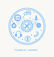 technical support thine line design vector image