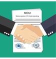 Two Businessman handshake on mou memorandum vector image