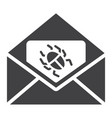 virus in email solid icon spam and security vector image