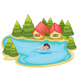 A boy swimming at the river with pine trees vector image vector image