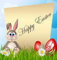 Easter card with cartoon bunny and eggs vector image vector image
