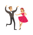 young couple dancing in elegant clothes colorful vector image