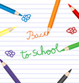 Back to school with colored pencils over notebook vector image vector image