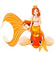 mermaid and fish vector image vector image