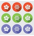 Flower icon set Camomile daisy orchid primula vector image