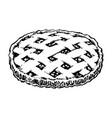apple pie sketch icon homemade cake hand drawn vector image