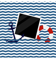 nautical background with photoframe vector image