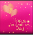 pink postcard on Valentines day with the heart of vector image