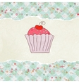 Retro card with cupcake EPS 8 vector image