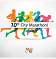 running people set of silhouettes competition vector image vector image