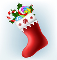 Christmas sock with candy vector image vector image
