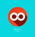 Infinity symbol retro flat design icon in red vector image