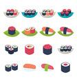 Sushi icon set over white vector image
