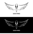 Logo template with raven scull and wings vector image