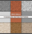 9 seamless patterns brick wall paterns vector image