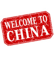 welcome to China red square grunge stamp vector image
