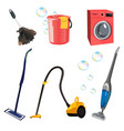 set with cleaning tools vector image