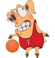 Pig the basketball player cartoon vector image vector image