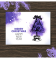 Watercolor Christmas hand drawn card vector image