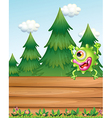 A monster above the wooden signboard vector image vector image