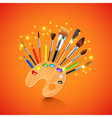Palette and brushes on orange background vector image