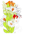template for card with summer flowers vector image