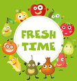 Fresh fruits and vegetables vector image