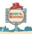 Cowboy christmas text on wood board isolated on vector image