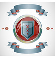 Emblem with ribbons vector image