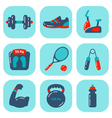 Fitness Icons Flat 2 vector image