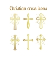 Golden christian cross icons set vector image