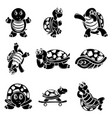 happy turtle icons set simple style vector image
