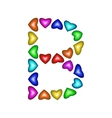 Letter B made of multicolored hearts vector image