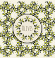 olives branches frame and kitchen seamless vector image