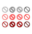 set of prohibition sign vector image