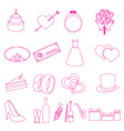 simple wedding red outline icons set eps10 vector image