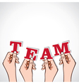 team word in hand vector image