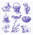 Easter set hand drawn ink vintage vector image