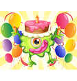 A green monster with a cake above the head vector image