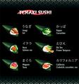 Hand roll sushi Temaki vector image