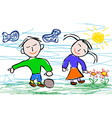 Kids drawing style of boy and girl vector image vector image