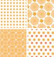 Set orange abstract seamless pattern vector image