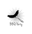 BBQ Party Badge Grilled Sausage label isolated on vector image
