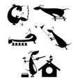 Cartoon dog silhouette vector image