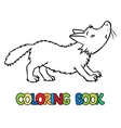 Coloring book of lttle funny wolf vector image