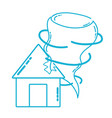 line house with tornado storm disaster weather vector image