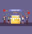 office team celebrates birthday company vector image