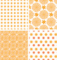 Set orange abstract seamless pattern vector image